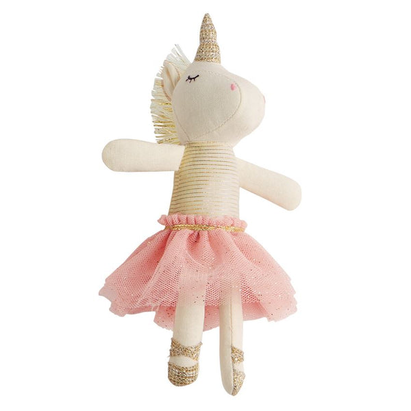 WHITE PLUSH TUTU UNICORN RATTLE