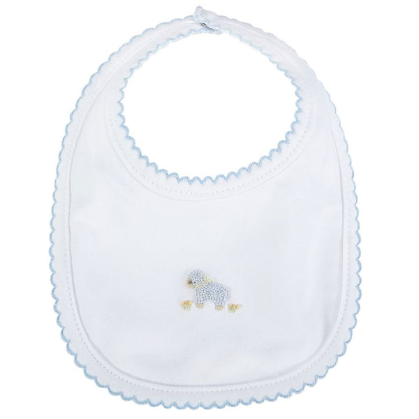 FRENCH KNOT LAMB BIB BLUE