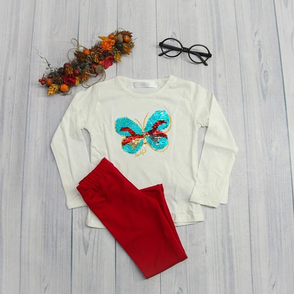 BUTTERFLY TEE SHIRT AND PANTS SET