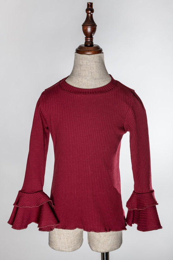 BURGUNDY LONG SLEEVE SHIRT.