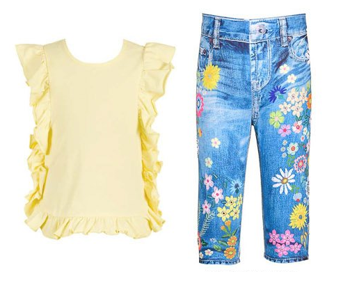 SET OF YELLOW TUNIC AND FLORAL JEANS.