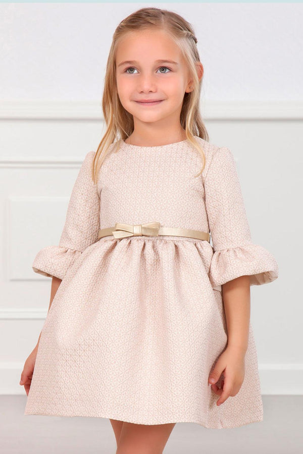 JACQUARD DRESS WITH PINK BELT