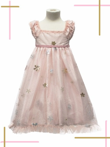 PINK TULLE DRESS WITH SNOWFLAKE APPLICATIONS.
