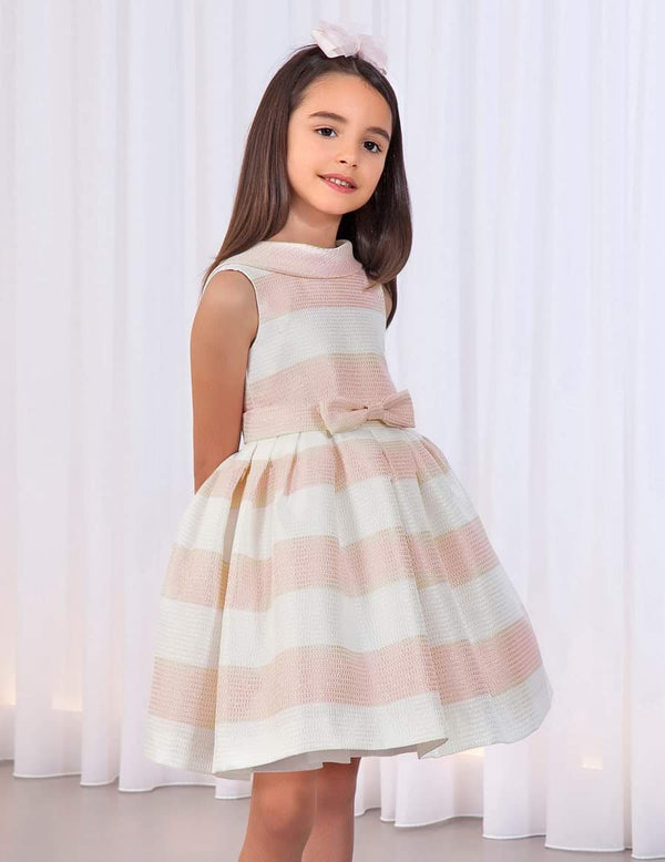 PINK STRIPED DRESS WITH GLITTER