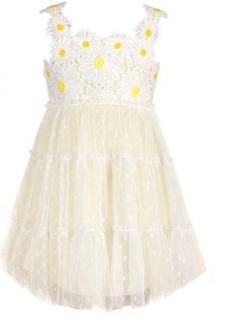 Yellow Polka Dot Dress With Flower Detail