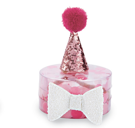 HOT PINK PARTY HAT AND BOW SET