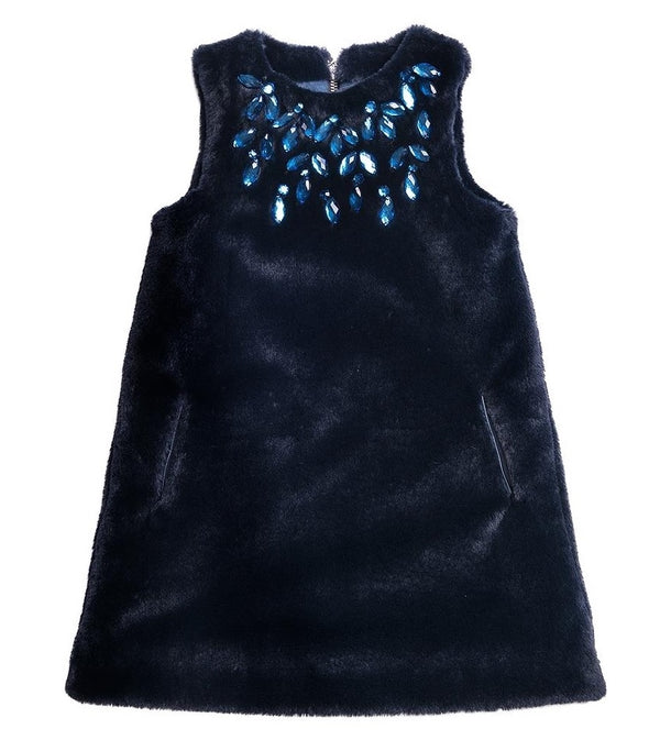 Sleeveless navy Dress With Embellishments.