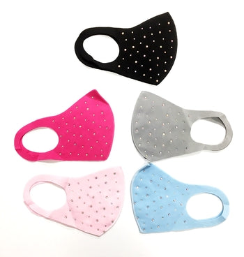 Assorted Colors Random Rhinestone Spandex Mask
