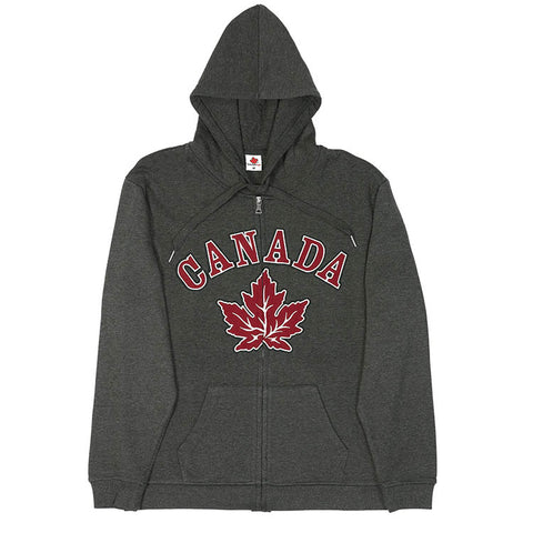 Adult Canada Maple Leaf Full Zip Sweatshirt - Charcoal