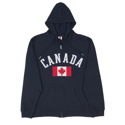 Canada Flag Full Zip Sweatshirt - Navy
