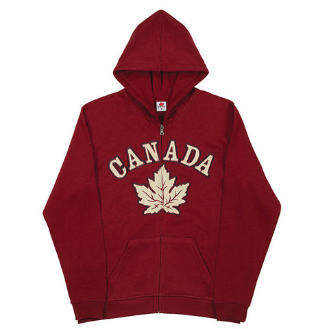 ADULT FULL ZIP SWEATSHIRT - MAPLE LEAF IN BURGUNDY