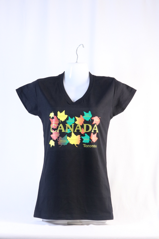 T-shirt Ladies V-Neck Multiple Maple Leaf
