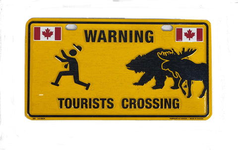 "License Plate - Warning Tourists Crossing 8"" x 4"""