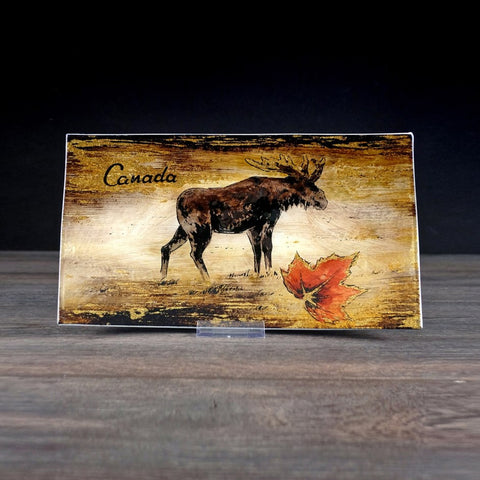 Canada Glass Plate - Moose 9 x 6""