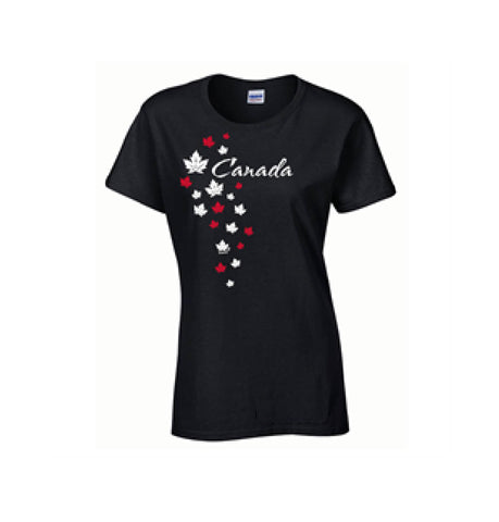 Ladies Missy T-shirt - Falling Leaves ( Black)