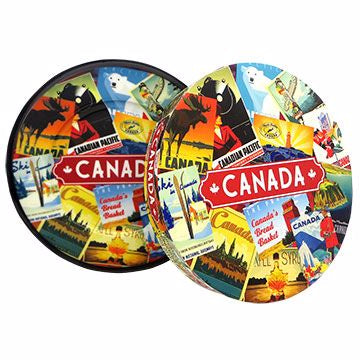 "Canada Porcelain Plate - 8"" Retro Collage Design With Box"