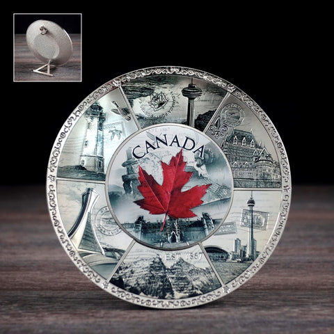 "Canada Tin Plate - 4"" With Red Leaf"