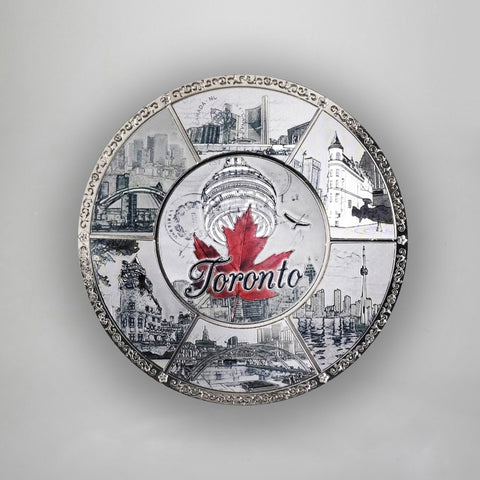 "Tin Plate - 4"" Toronto With Red Leaf"