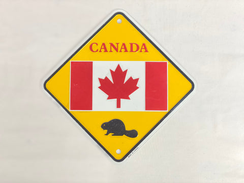 "License Plate - Canada Flag with Bear 6"" x 6"""