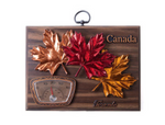 Plaque-Maple Leaves with Thermometer - Hickory Finish