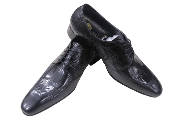 Nofeka Men's Shoes Formal Plain Black with Laces