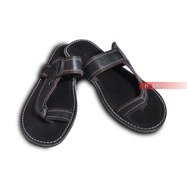 Nofeka Uganda Men's craft sandals Generic Black Classic Men's Faux Leather Craft Sandals