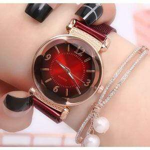 Nofeka Watches Trend Gradient Casual Wild Quartz Watch-Red