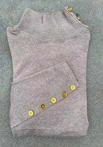 The Basic Knit Mock Neck with Button Detail