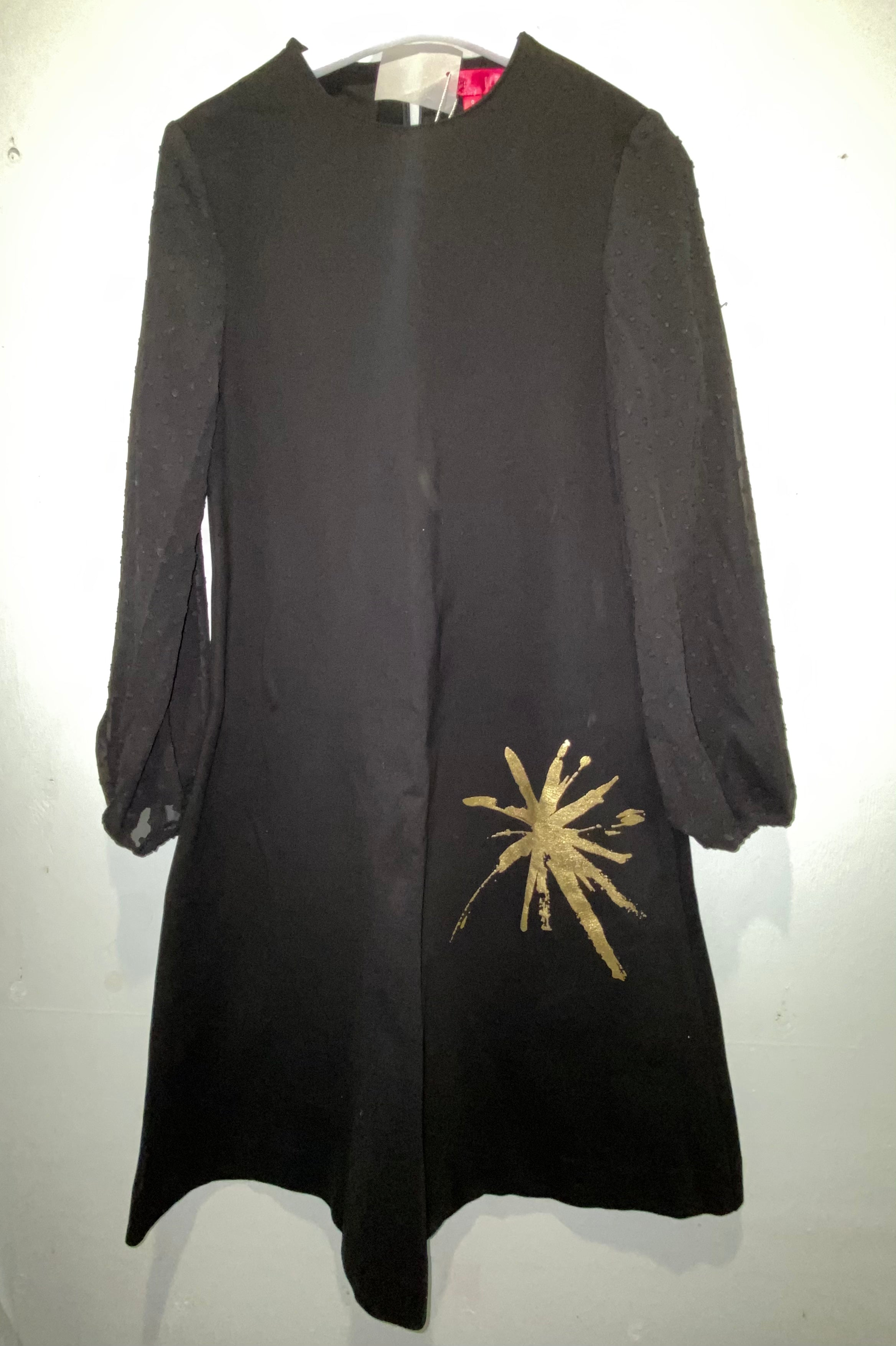 Black/Gold Dress With Sleeve Detail