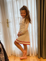 Load image into Gallery viewer, White Knit Skirt with Red Details- SET
