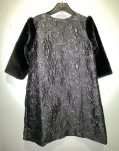 Black Fur Sleeves Dress