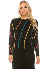 Load image into Gallery viewer, Multi Color Striped Stitch Fringe Sweater