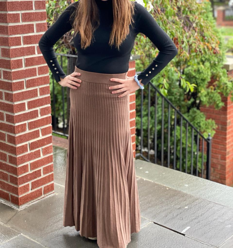 Pleated Knit Maxi Skirt