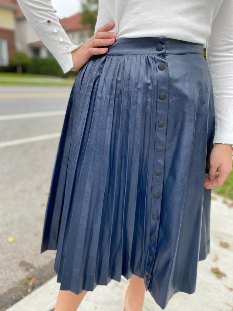 Leather Half Pleat Skirt