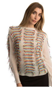 Multi Color Fringe Sweater