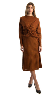 Rust Flat Pleat Midi Skirt - Set