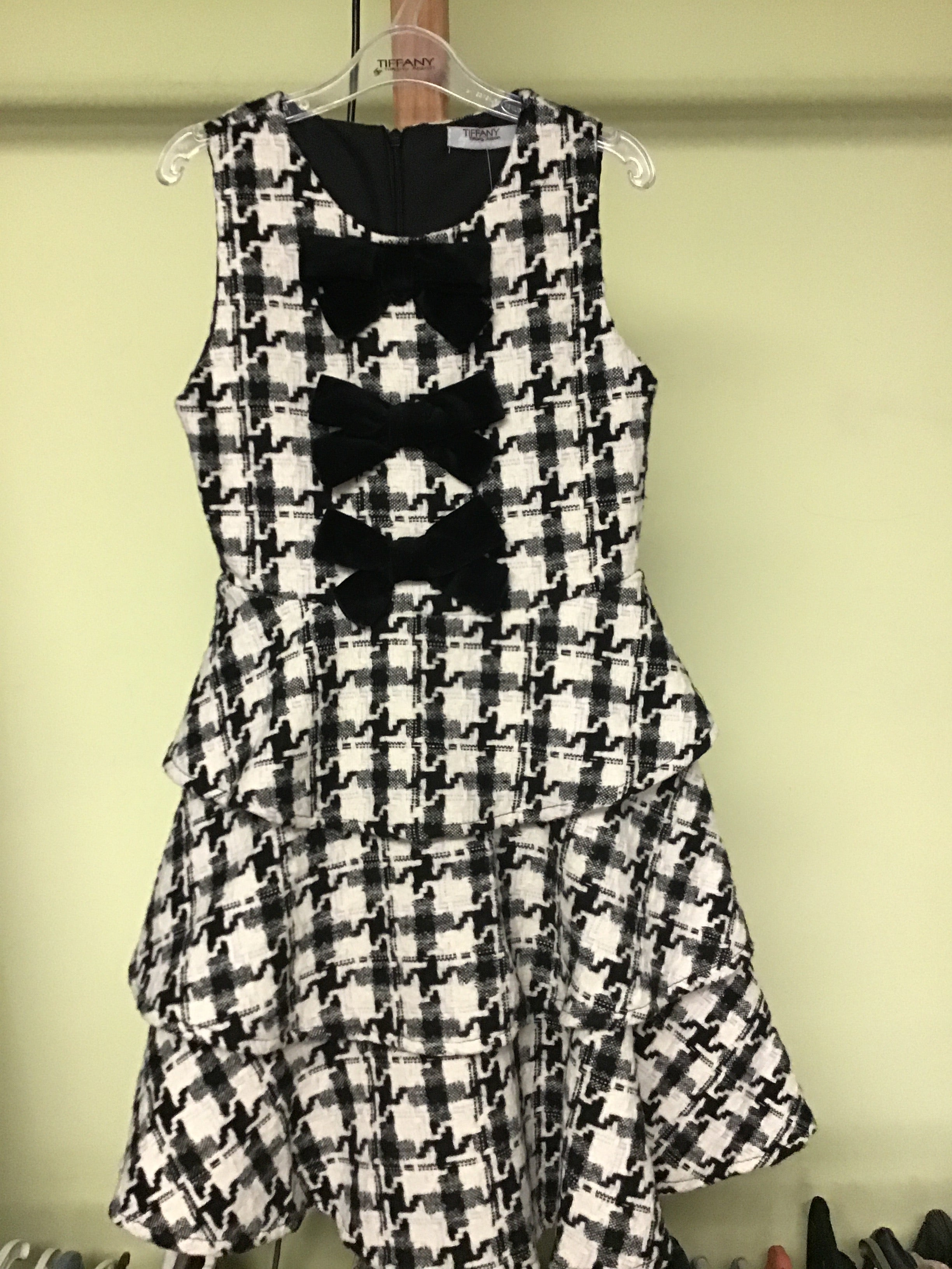 Houndstooth Ruffle Bow Dress