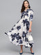 Myshka Women's White Blue Crepe Printed Half Sleeve Coller Neck Dress