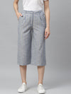 Myshka Women's Grey cotton check Casual Trouser