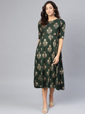 Myshka Women's Green Rayon Printed 3/4 Sleeve Round Neck Dress