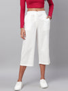 Myshka Women's White Solid Cotton Trouser