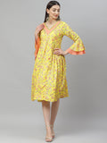Myshka Women's Yellow Cotton Printed  3/4 Sleeve V Neck Casual Dress