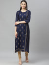 Myshka Women's NAVY BLUE Rayon Gold Print Printed3/4 SLEEVE Round Neck Casual Kurta