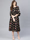 Myshka Women's Black Rayon Printed 3/4 Sleeve Round Neck Dress