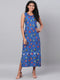 Myshka Women's Blue Printed Sleeveless Viscose Rayon Round Neck  Dress