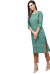 Myshka Women's Green Rayon Printed Regular Sleeves Round Neck Casual Kurta