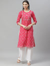 Myshka Women's PINK Cotton Printed Printed3/4 SLEEVE Round Neck Casual Kurta