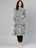 Myshka Women's Black & White Poly Crepe Solid 3/4 Sleeve Collar Neck Kurti