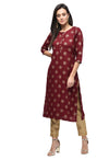 Myshka Women's Maroon Rayon Printed Regular Sleeves Round Neck Casual Kurta