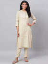 Myshka Women's Yellow Printed 3/4 Sleeve Cotton Maidran CollerKurta &Palazzo Set